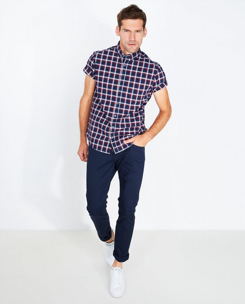 Chemise bleu foncé - à carreaux, comfort fit - Tim Moore